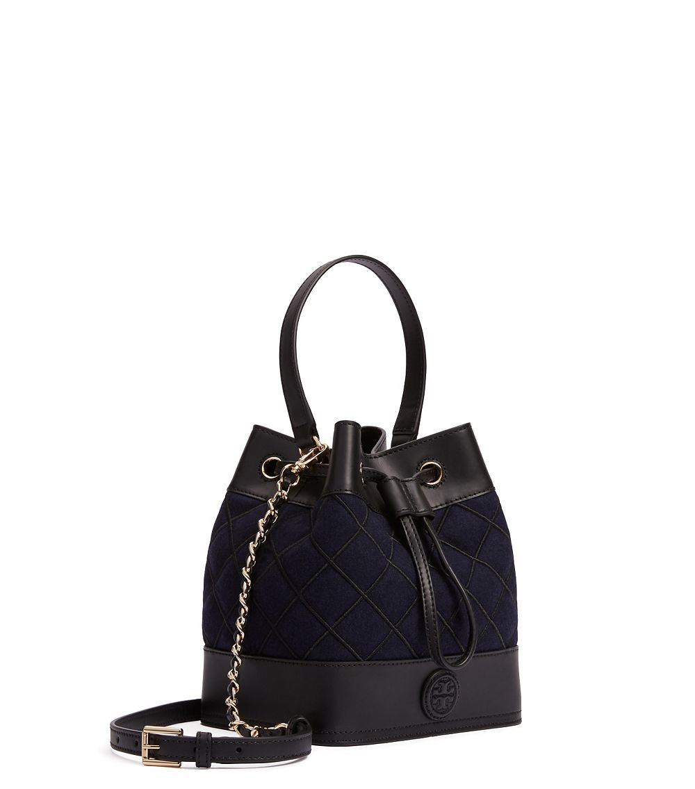 7c759923a7 Tory Burch Marion Quilted Flannel Mini Bucket Bag in Blue - Lyst