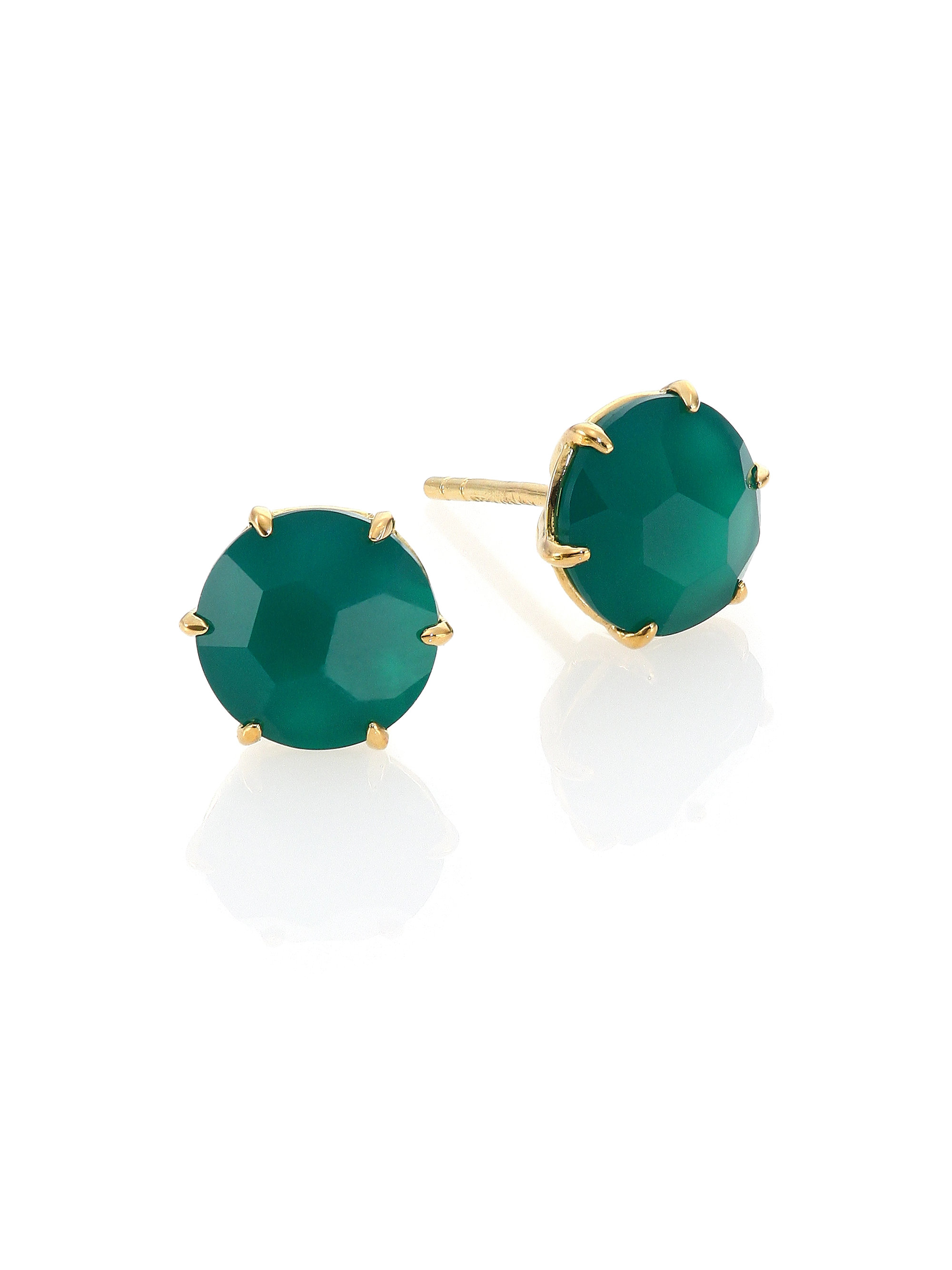 Earrings with agate. Green agate. Gold and silver earrings with agate
