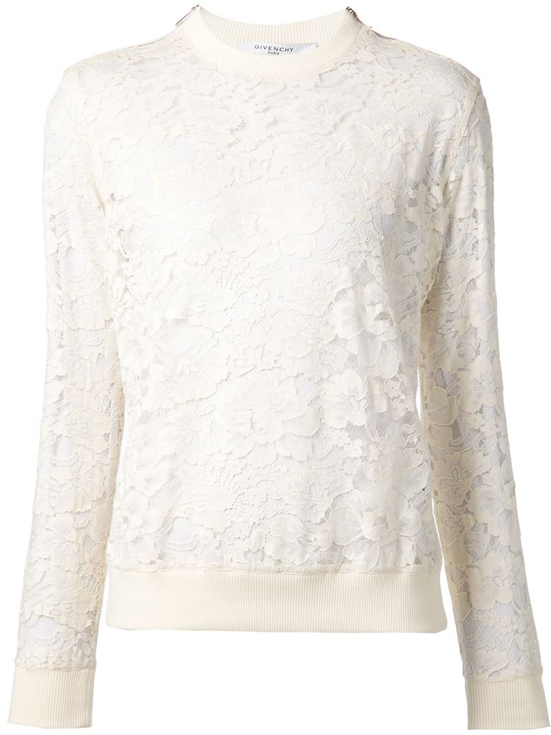 Givenchy Floral Lace Sweater in White | Lyst