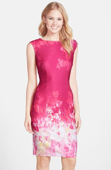 Adrianna Papell Floral Border Print Scuba Sheath Dress In