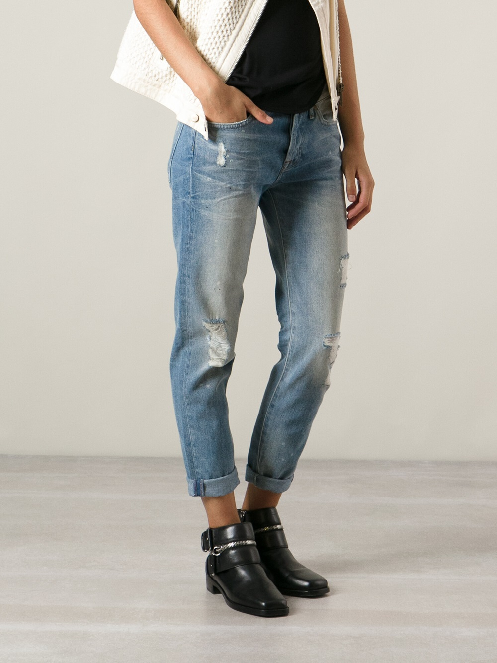 7 for all mankind 'Josie' Destroyed Boyfriend Jeans in Blue | Lyst
