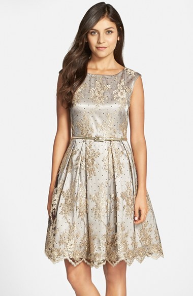 1ca948674aa4 Lyst - Eliza J Belted Embroidered Mesh Fit   Flare Dress in Gray