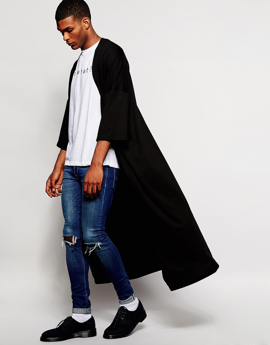 Asos Extreme Longline Jersey Kimono in Black for Men | Lyst