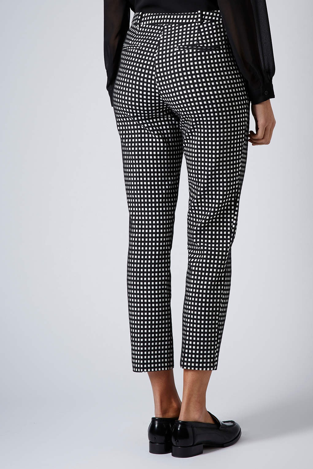 Lyst Topshop Gingham Cigarette Trousers In Black