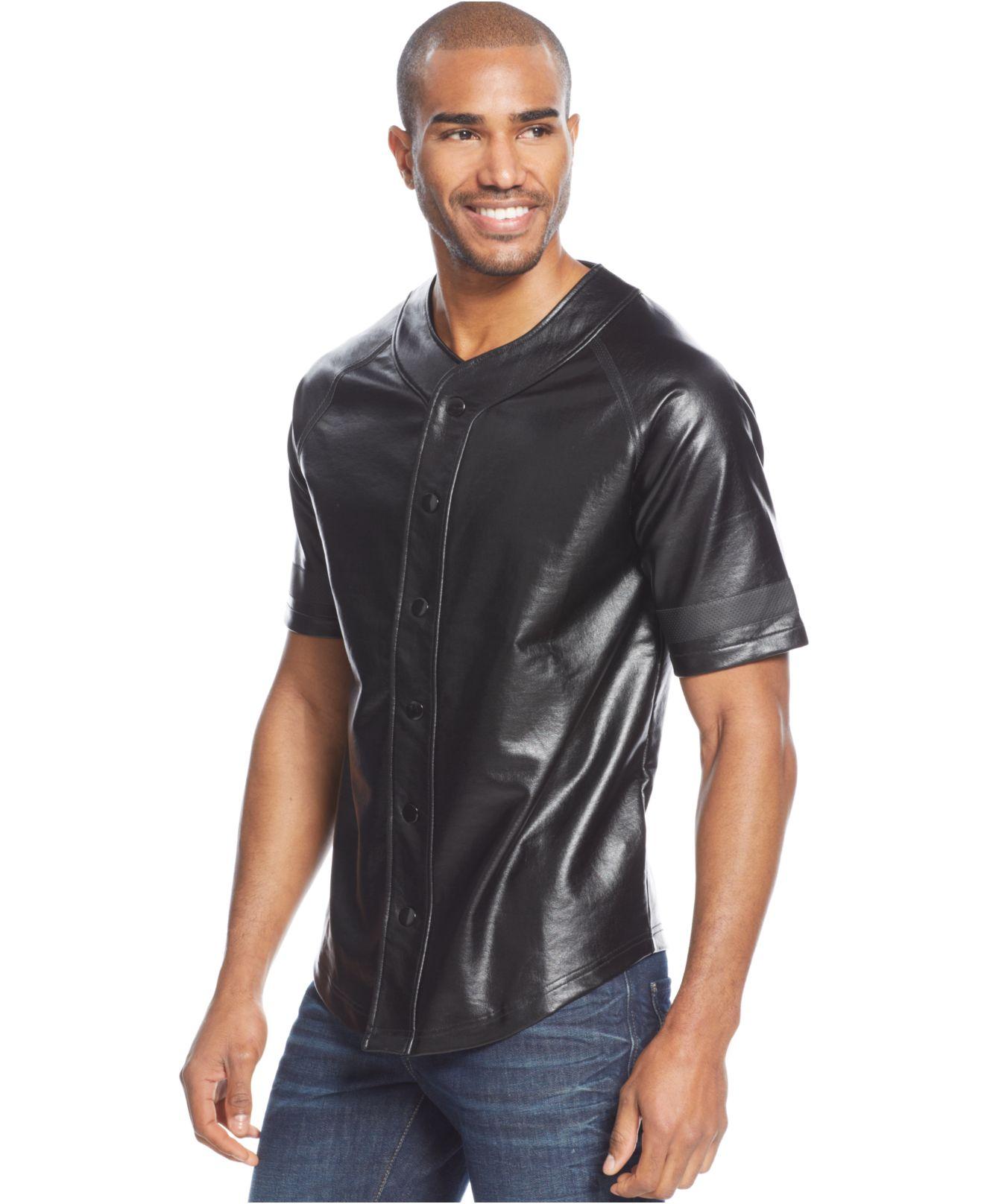 Sean john faux leather baseball shirt in black for men lyst for Sean john t shirts for mens