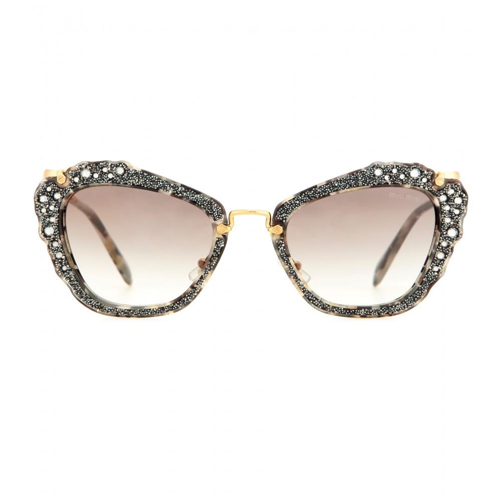 76931a3b2fd5 Lyst - Miu Miu Embellished Cat-eye Sunglasses in Metallic