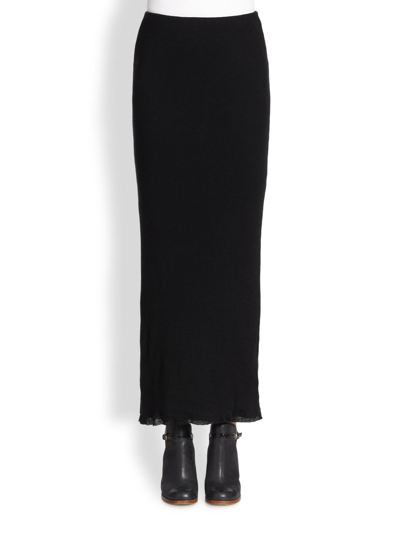 cottoncashmere knit maxi skirt in black lyst