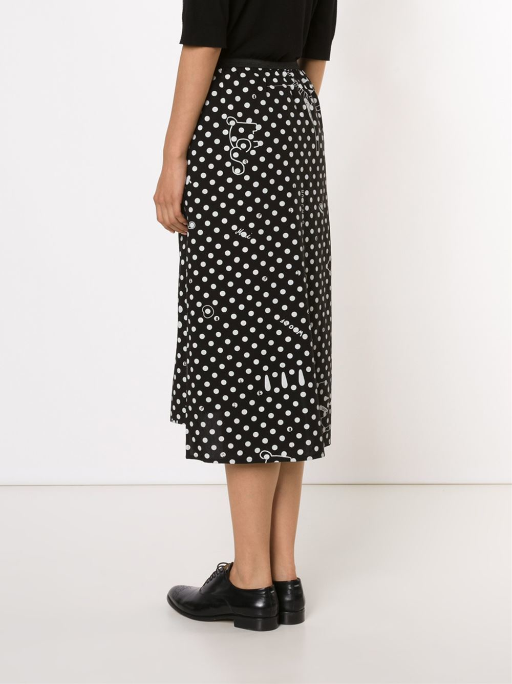 Mm6 by maison martin margiela polka dot midi skirt in for Mm6 maison margiela