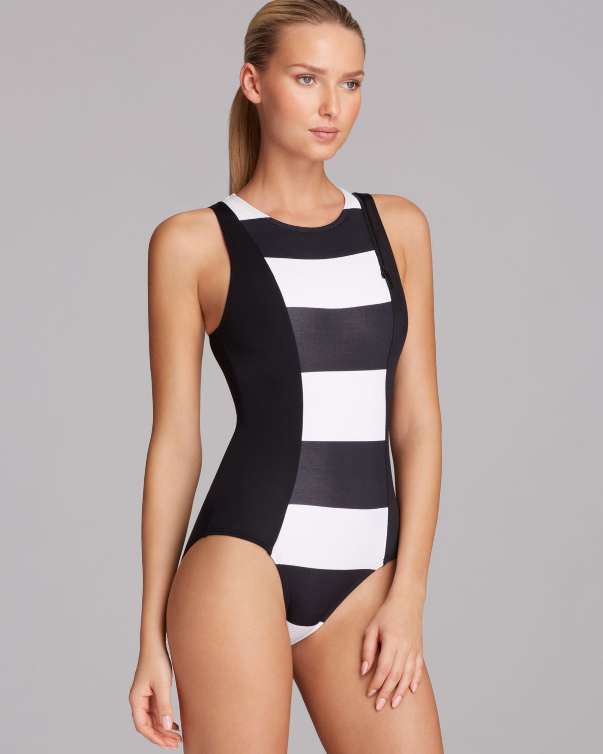 082f7fc256ebb DKNY Lorimer Stripe High Neck Maillot One Piece Swimsuit in White - Lyst