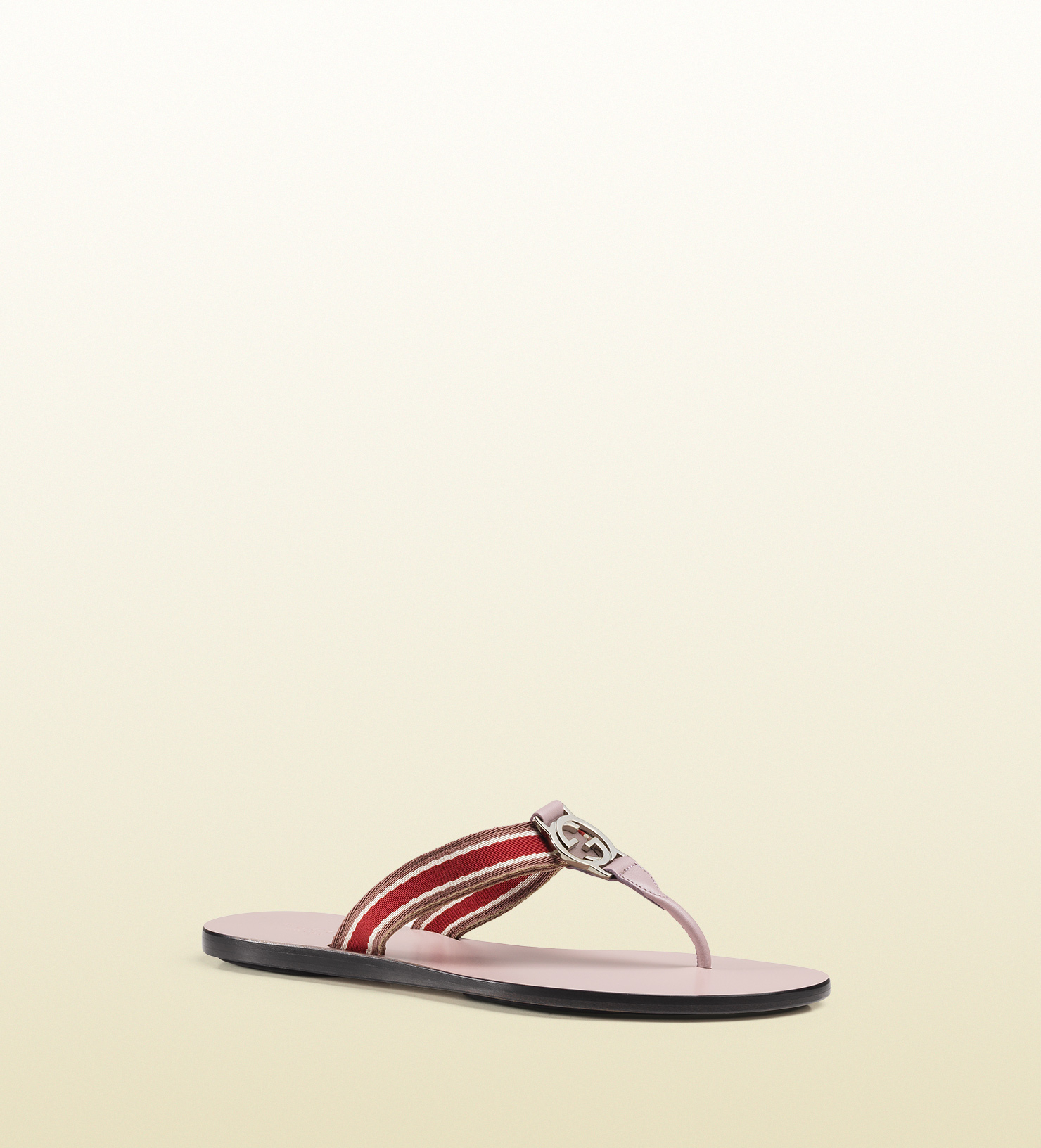 0859ffb74cf Lyst - Gucci Gg Thong Nylon Web Sandal in Red