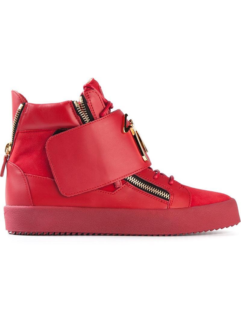 Giuseppe Zanotti Zip Detail Sneakers In Red Lyst
