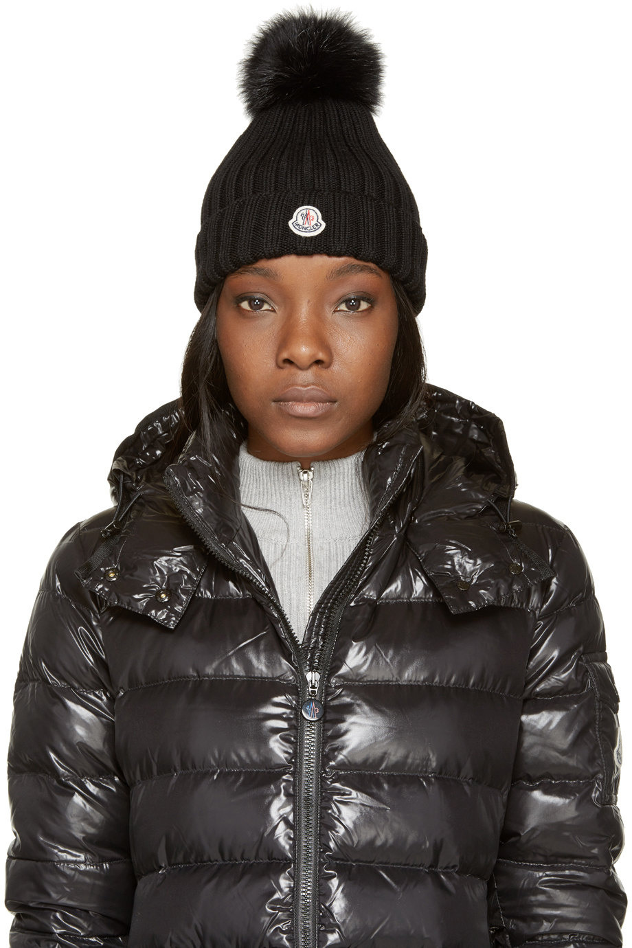 Moncler Black Berretto Hat in Black - Lyst 68d473745d