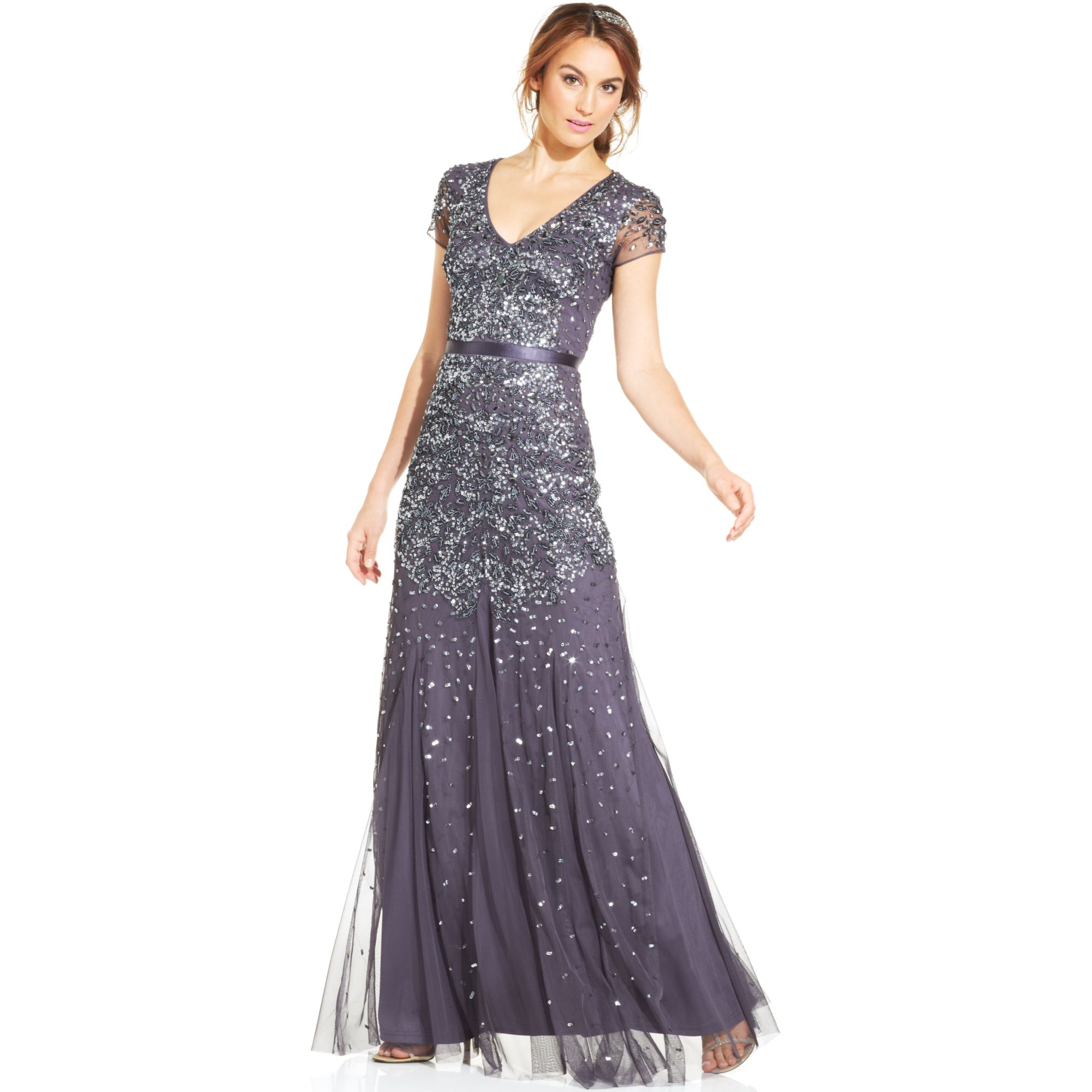 Lyst - Adrianna Papell Cap-sleeve Embellished Gown in Blue