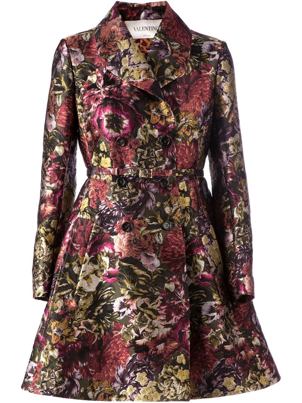 Lyst Valentino Floral Brocade Coat