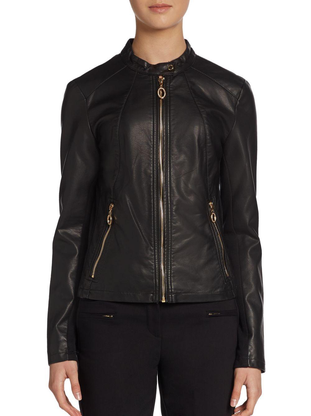 Lyst Ivanka Trump Front Zip Faux Leather Jacket In Black