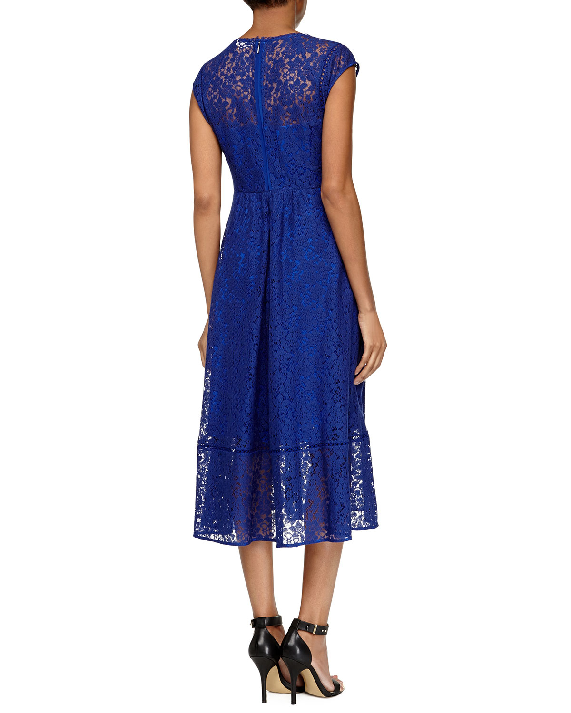 Rebecca taylor Cap-Sleeve Lace Midi Dress in Blue - Lyst