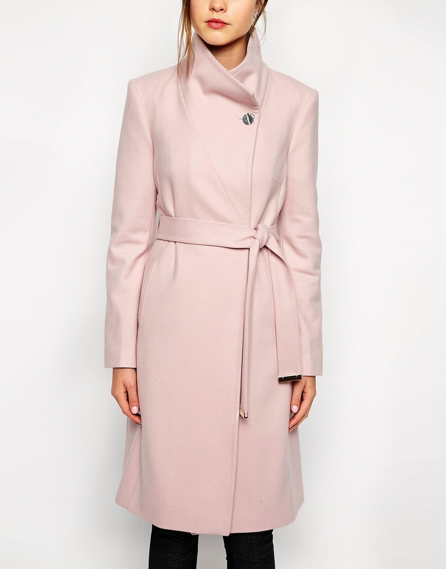Ted baker Belted Wrap Coat In Pale Pink in Pink | Lyst