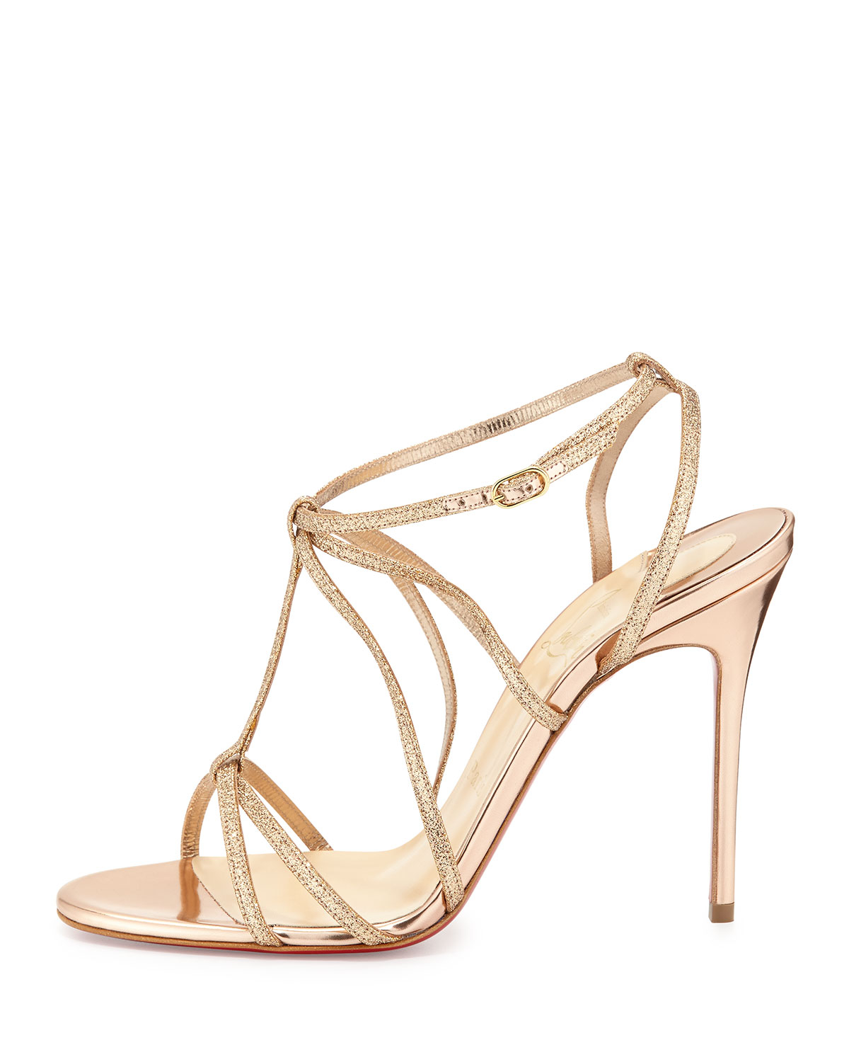 0f5f10aa785 Lyst - Christian Louboutin Youpiyou Glittered Red Sole Sandal in Metallic