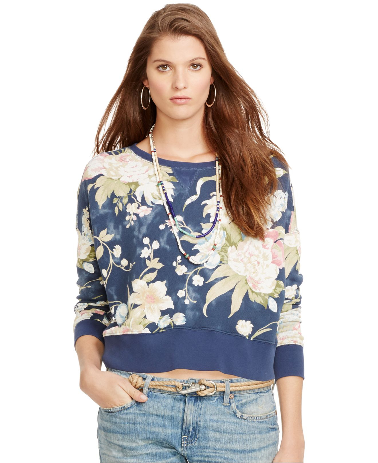 Polo ralph lauren Floral-Print Crew-Neck Sweatshirt in Blue | Lyst