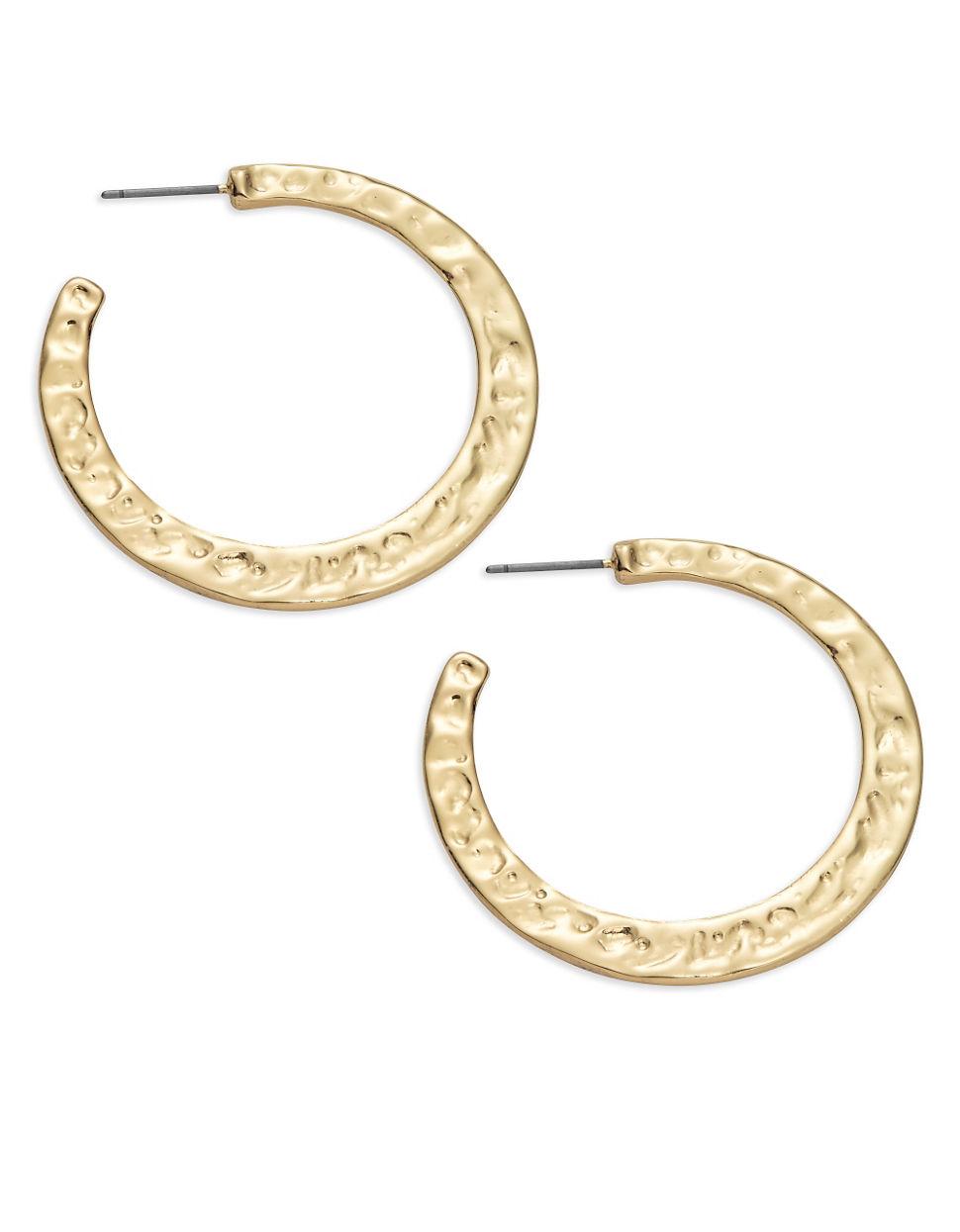 r j graziano hammered hoop earrings 1 75 in in metallic