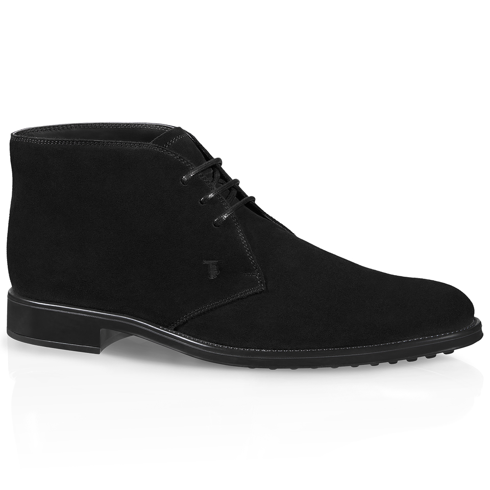 tod s lace up ankle boots in suede in black for lyst