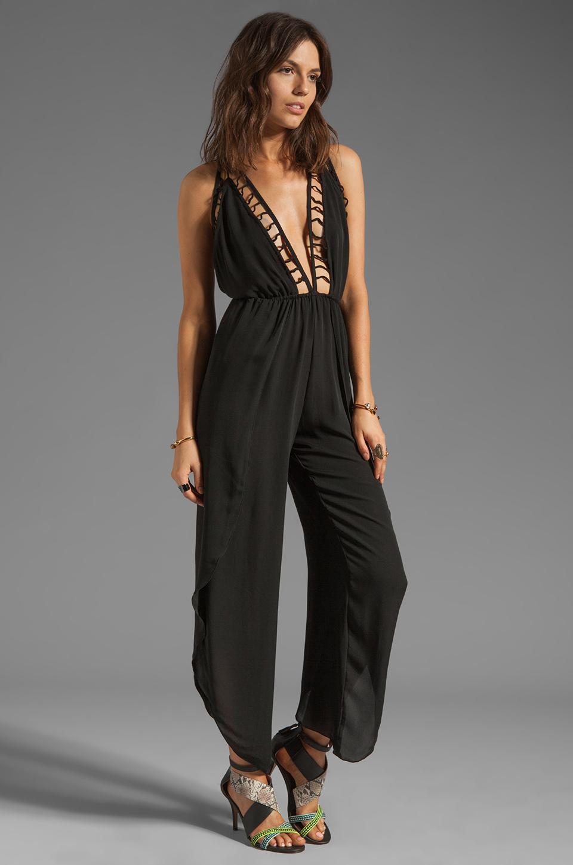 Indah Gypsy Latice Work Open Back Pantsuit In Black Lyst