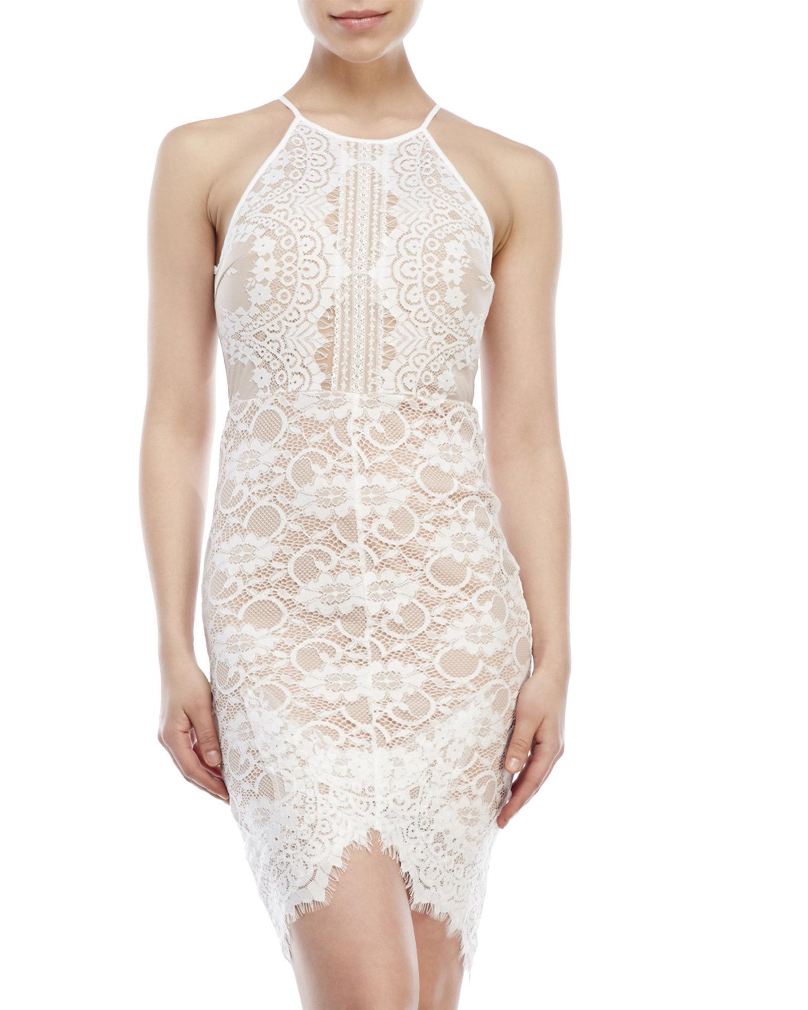 81fdd6e1c6e6 Lush Body-Con Lace Illusion Dress in White - Lyst