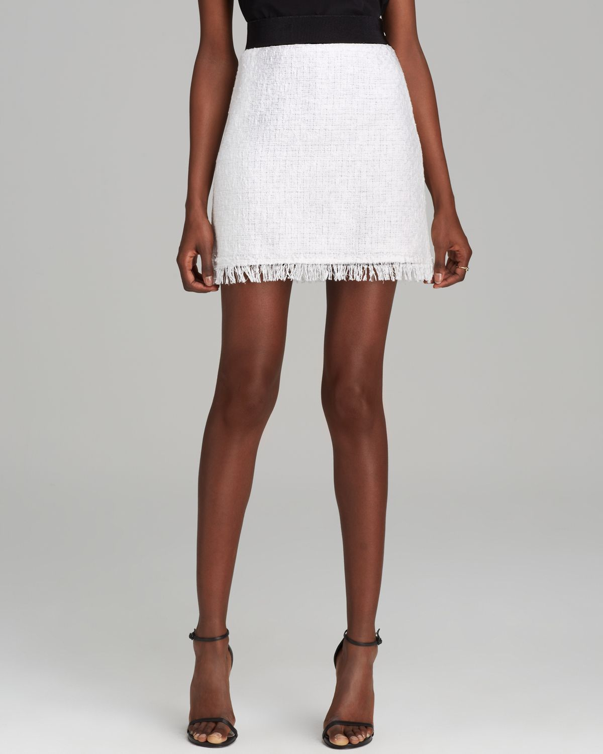 milly skirt featherweight tweed mini in white lyst