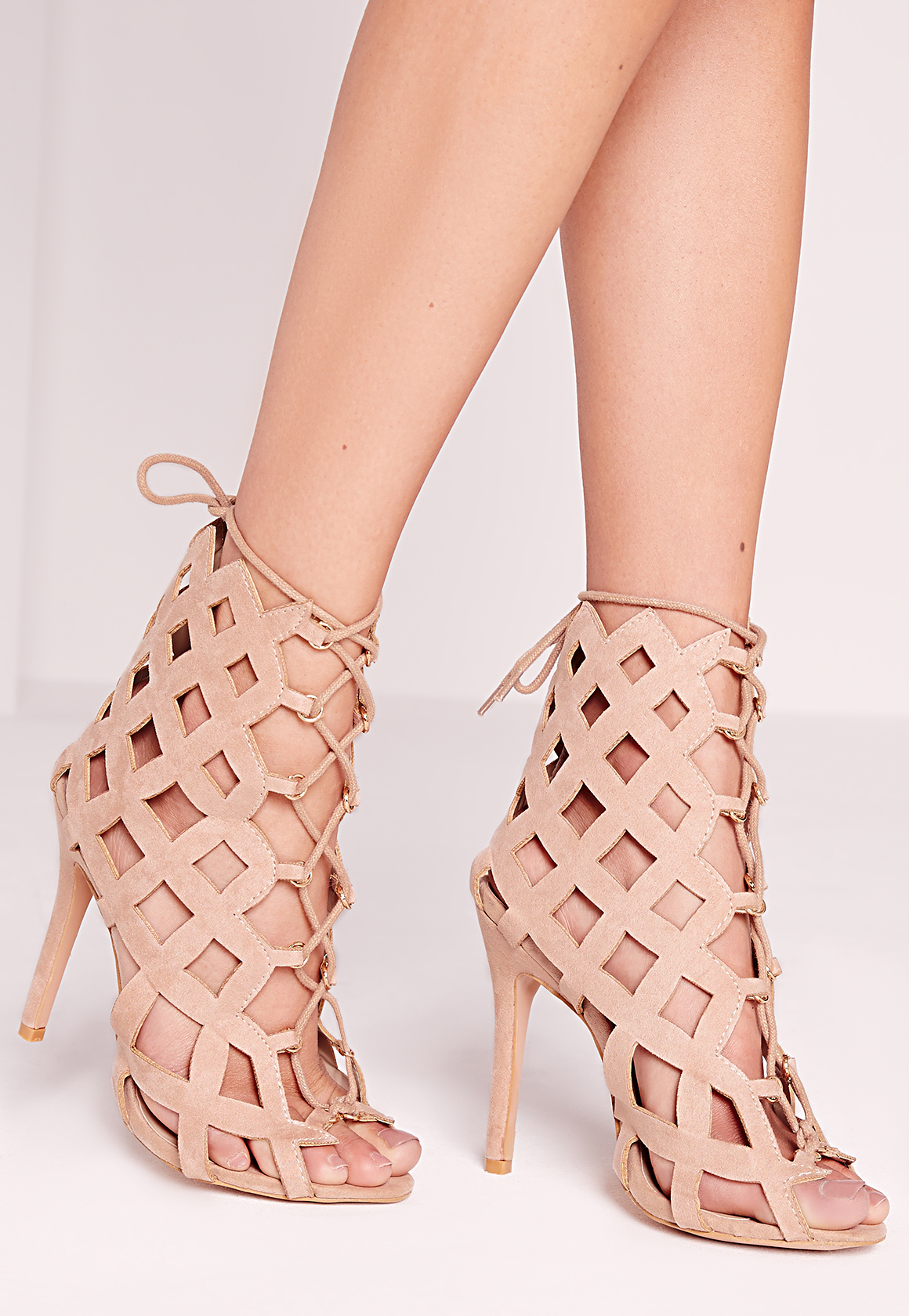 Lyst - Missguided Laser Cut Lace Up Gladiator Heels Nude