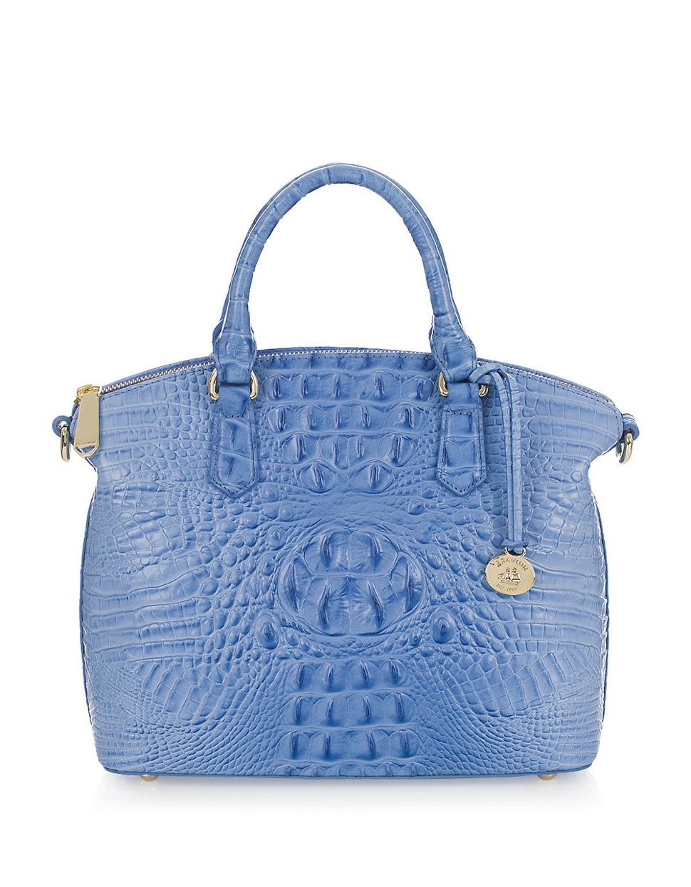 Lyst - Brahmin Duxbury Embossed Leather Satchel in Blue