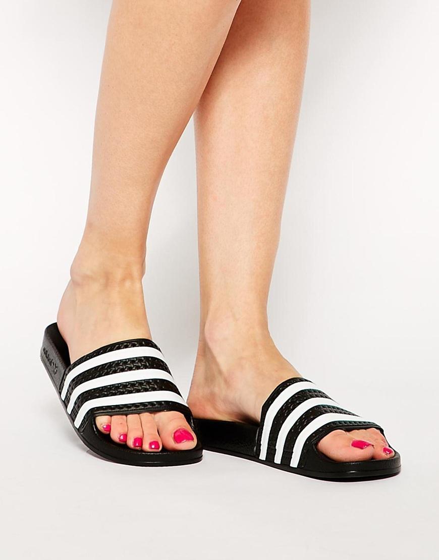 8208a774d793 Lyst - adidas Originals Originals Adilette Black   White Stripe ...