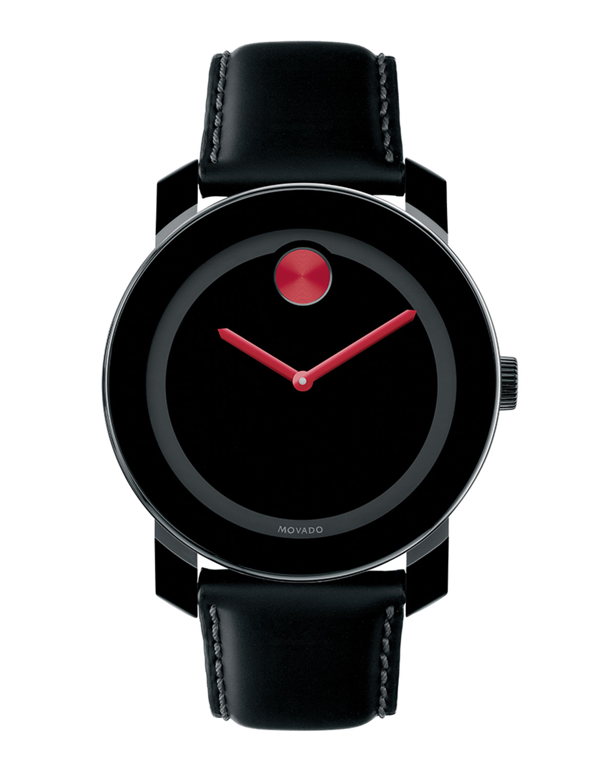 movado bold 42mm bold with leather in black