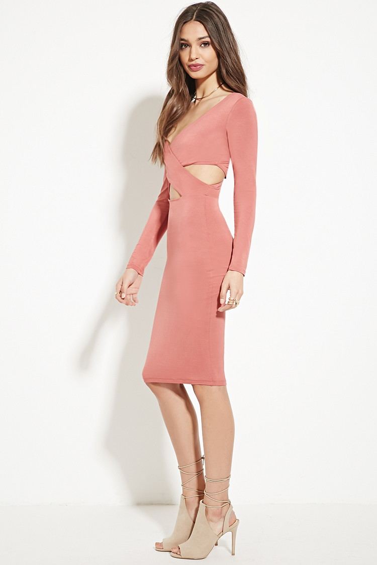Lyst - Forever 21 Twisted Bodycon Dress in Orange - photo #43