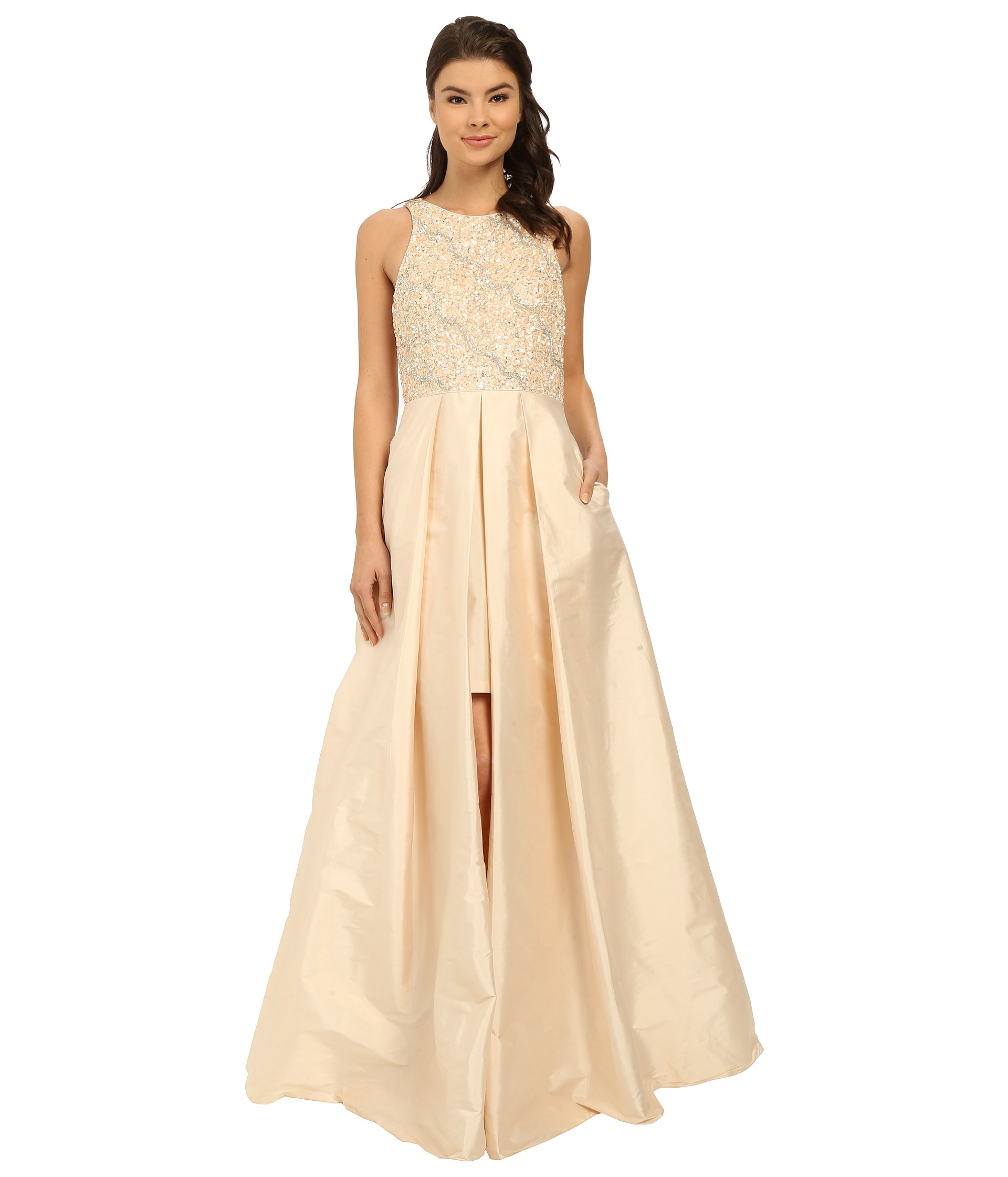 36bffcc1425c66 Adrianna Papell Halter With Taffeta Skirt Gown in Natural - Lyst