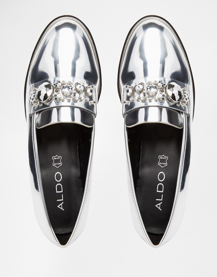 aldo shoes silver loafers