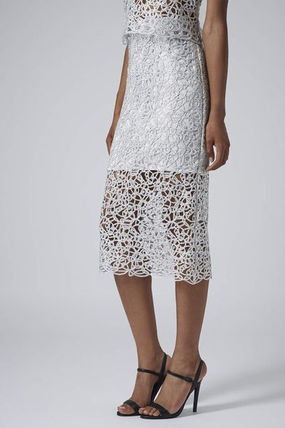 topshop limited edition silver cornelli pencil skirt in