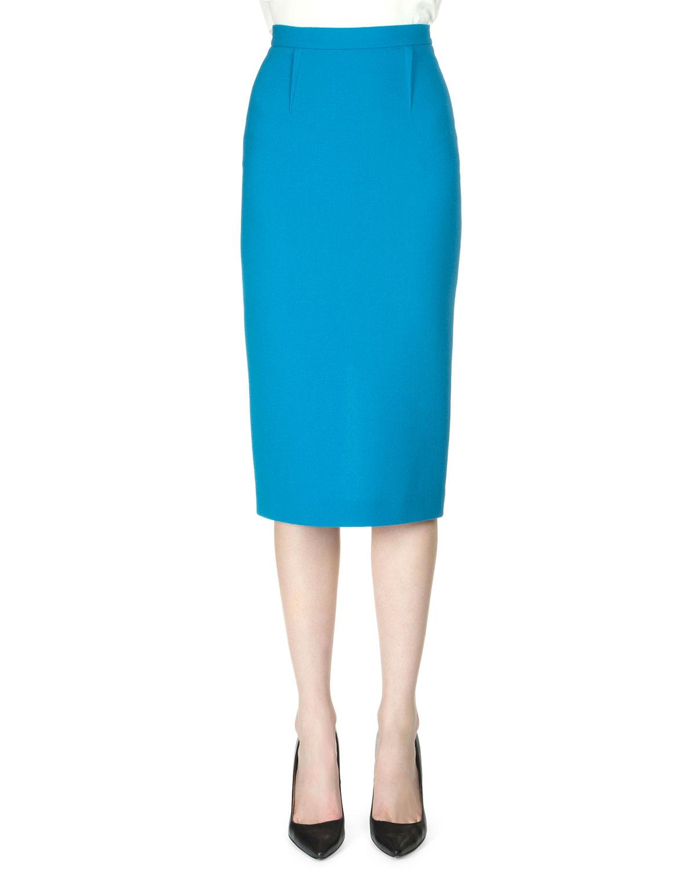 roland mouret arreton wool crepe pencil skirt in blue lyst