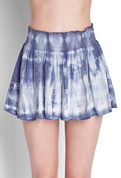 Forever 21 Flowy Tiedyed Shorts In Blue Blue White Lyst