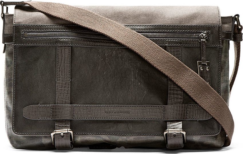 1c9913c5a13d Lyst - Dolce   Gabbana Grey Coated Canvas Camo Messenger Bag in Gray ...