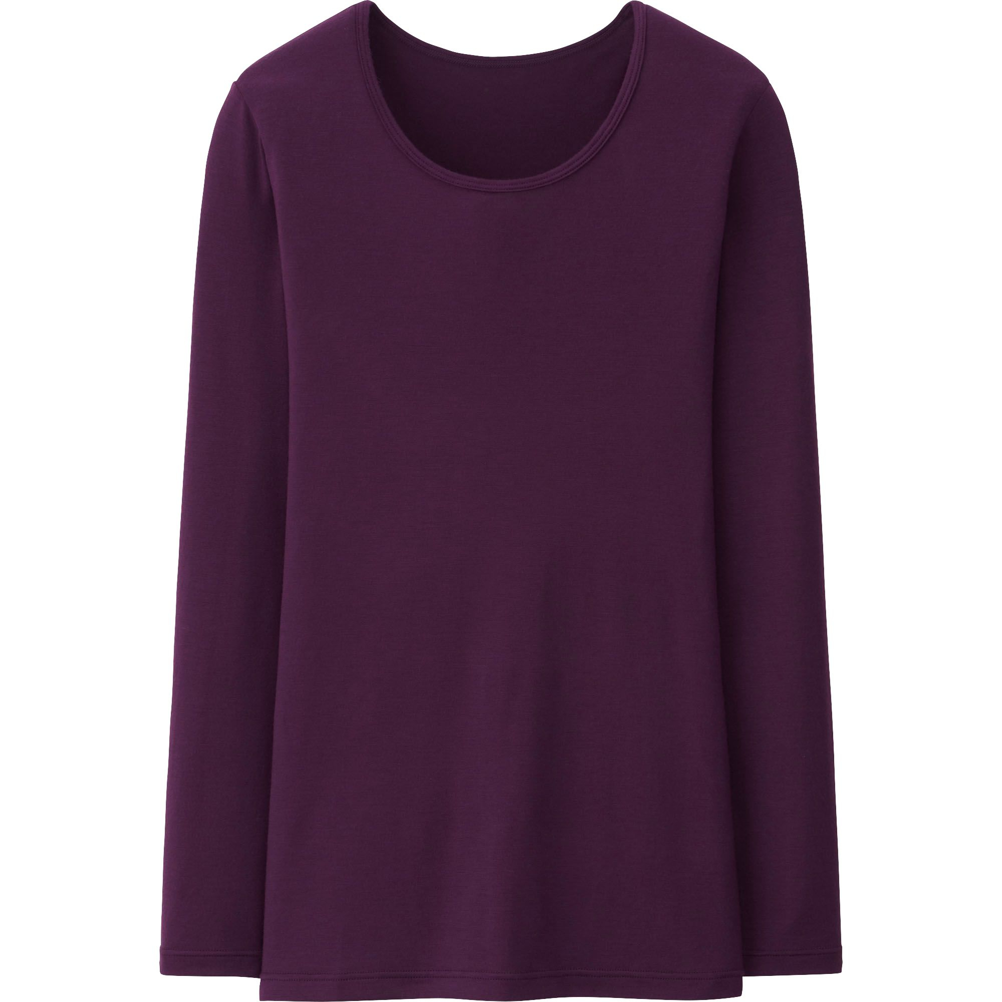 Uniqlo heattech crew neck long sleeve t shirt in purple for Women s crew t shirts