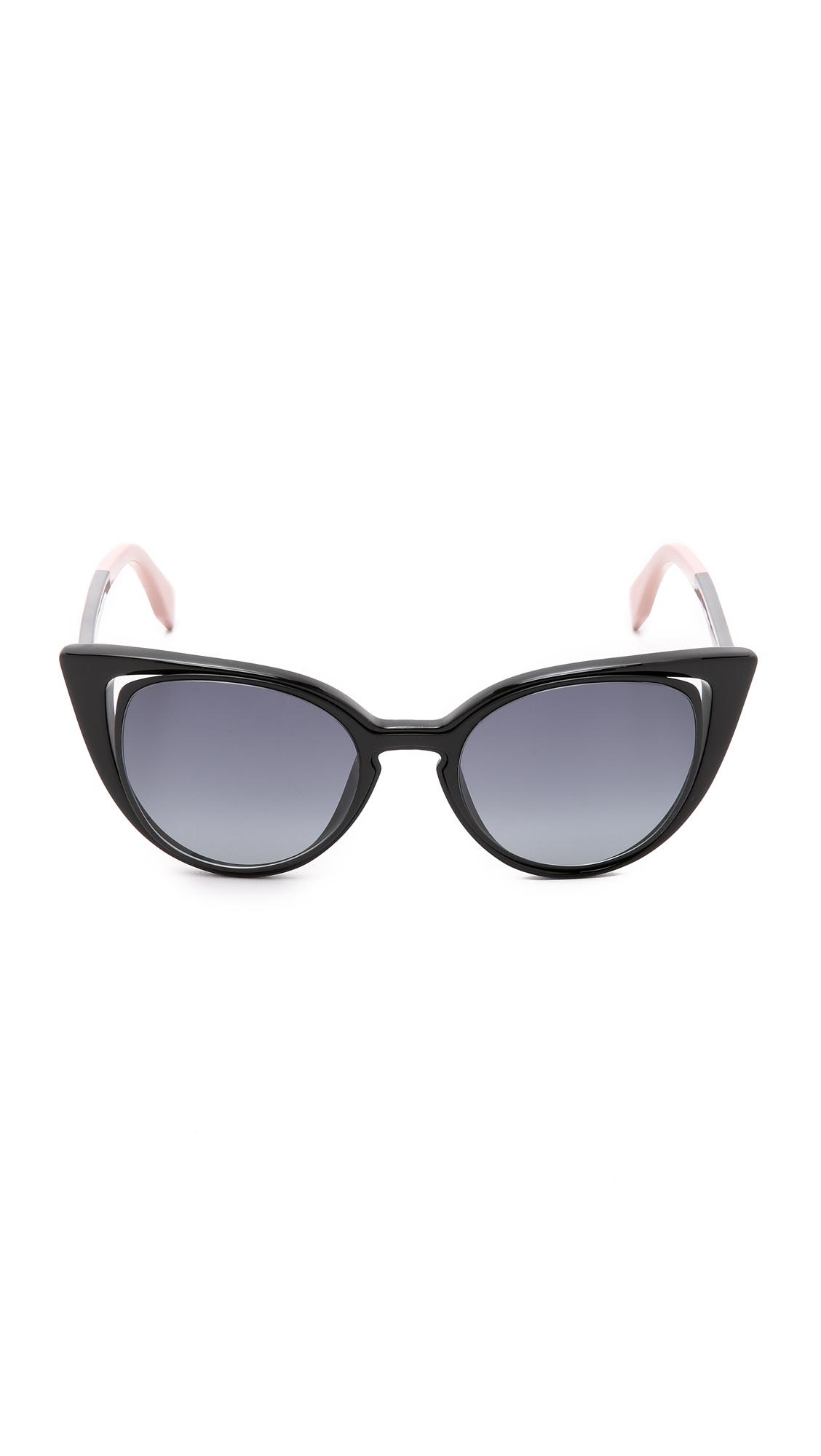 b584f61907d Lyst - Fendi Cutout Cat Eye Sunglasses - Gold White brown Shade in Black