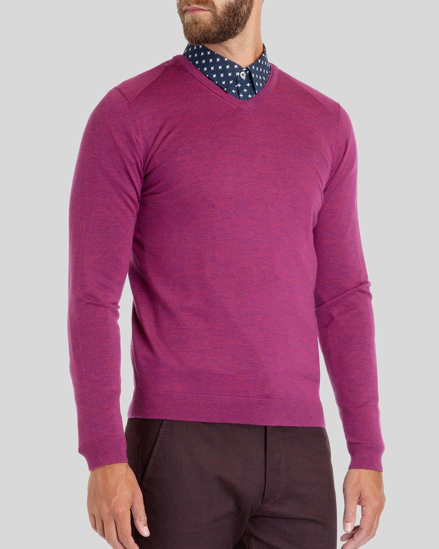 Ted baker Babel Merino Wool V-neck Sweater in Purple for Men | Lyst