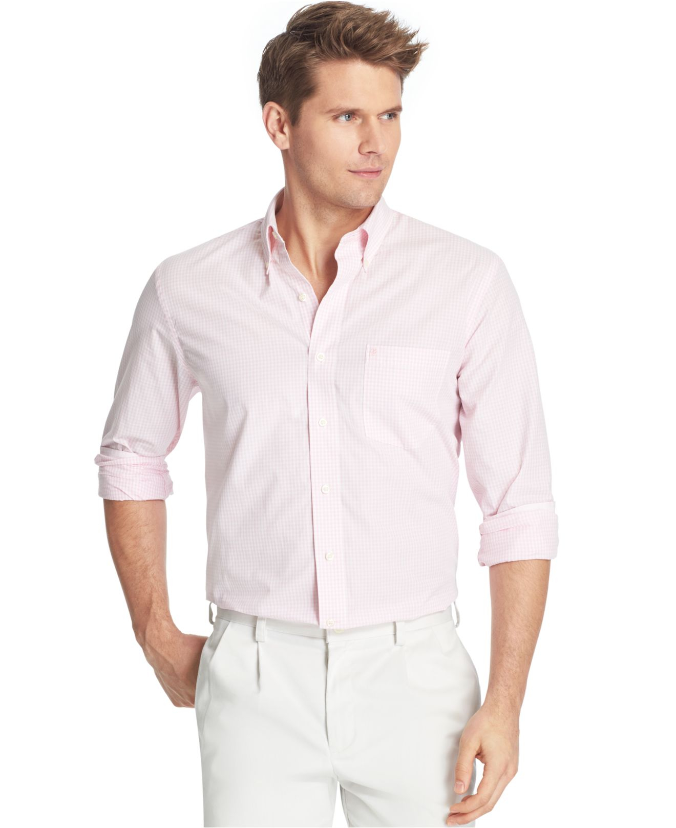 Lyst izod essential big and tall long sleeve gingham for Izod big and tall essential solid shirt