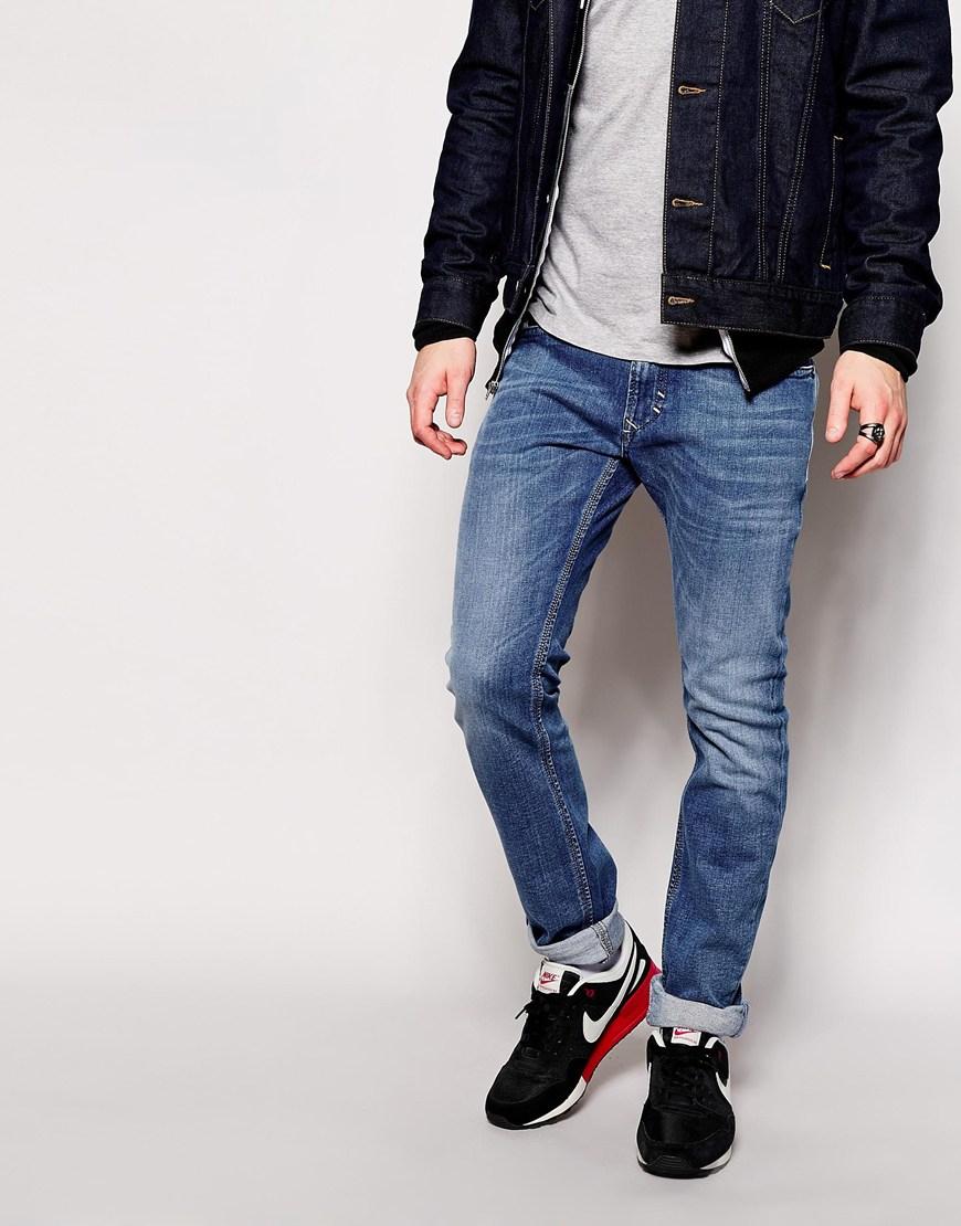 diesel jeans thavar 665h slim fit light wash in blue for. Black Bedroom Furniture Sets. Home Design Ideas