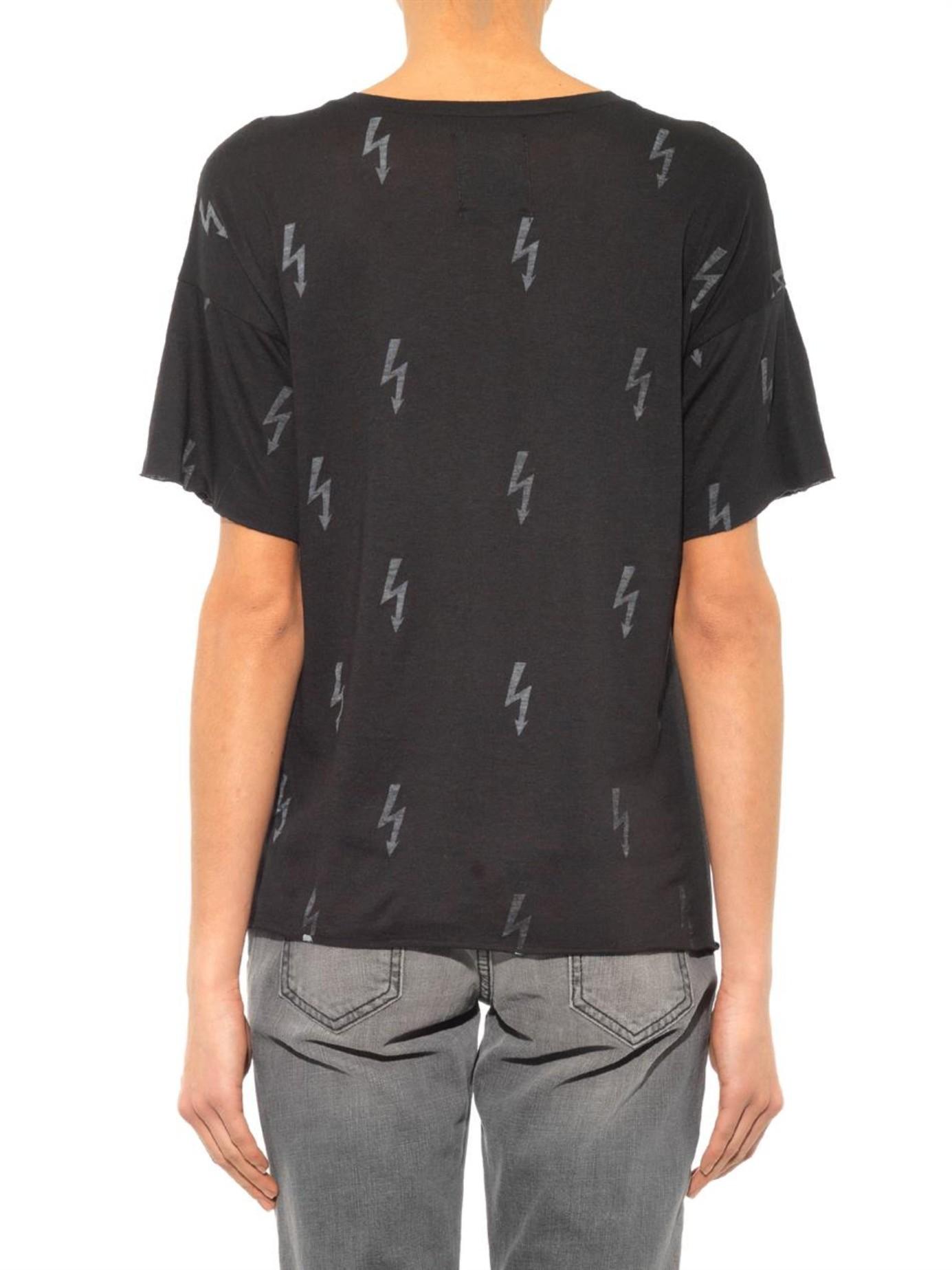 6519d47f1 Zoe Karssen Lightning-Bolt Print T-Shirt in Black - Lyst