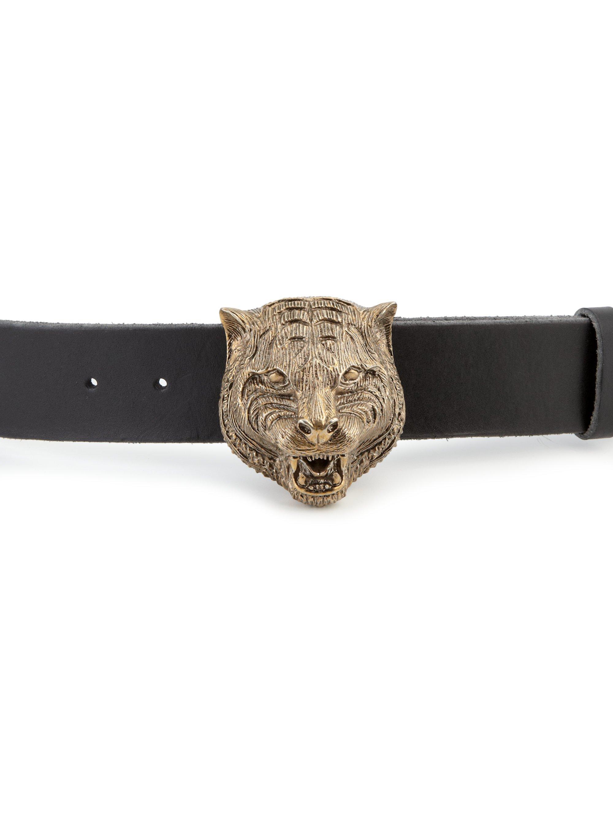 d7a552adf89 Lyst - Gucci Tiger Head Leather Belt in Black