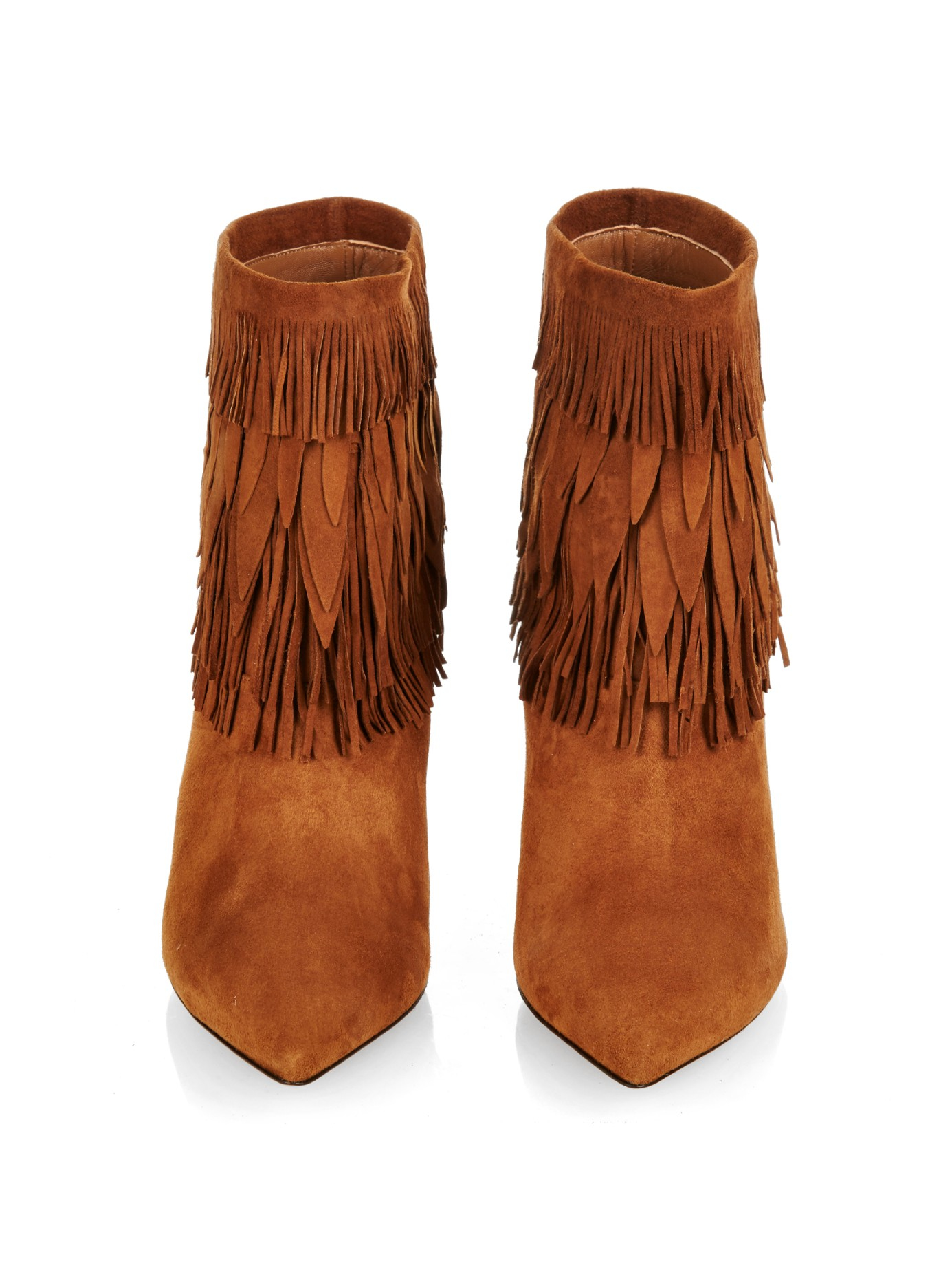 Aquazzura Sasha Layered-Fringe Ankle Boots in Brown | Lyst