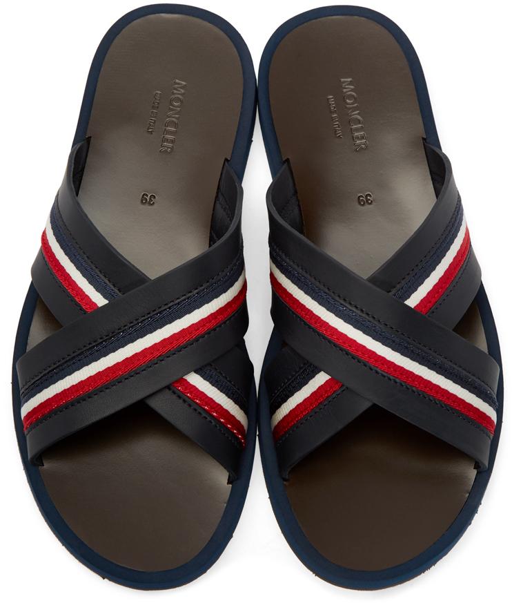 Moncler Black Slide Sandals In Black For Men Lyst