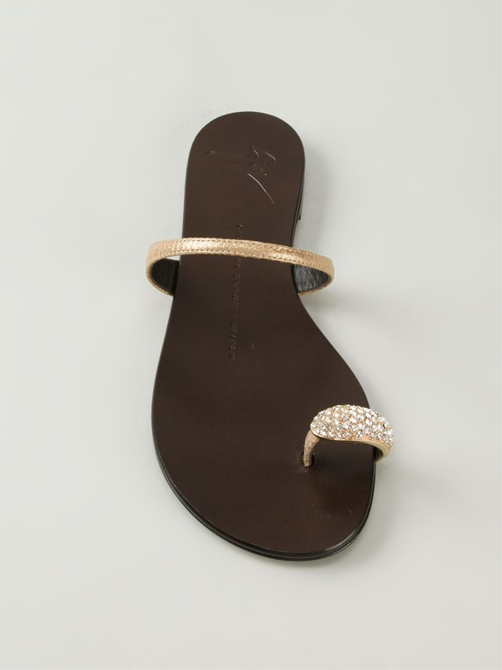 Giuseppe Zanotti Toe Strap Sandals In Gold Metallic Lyst