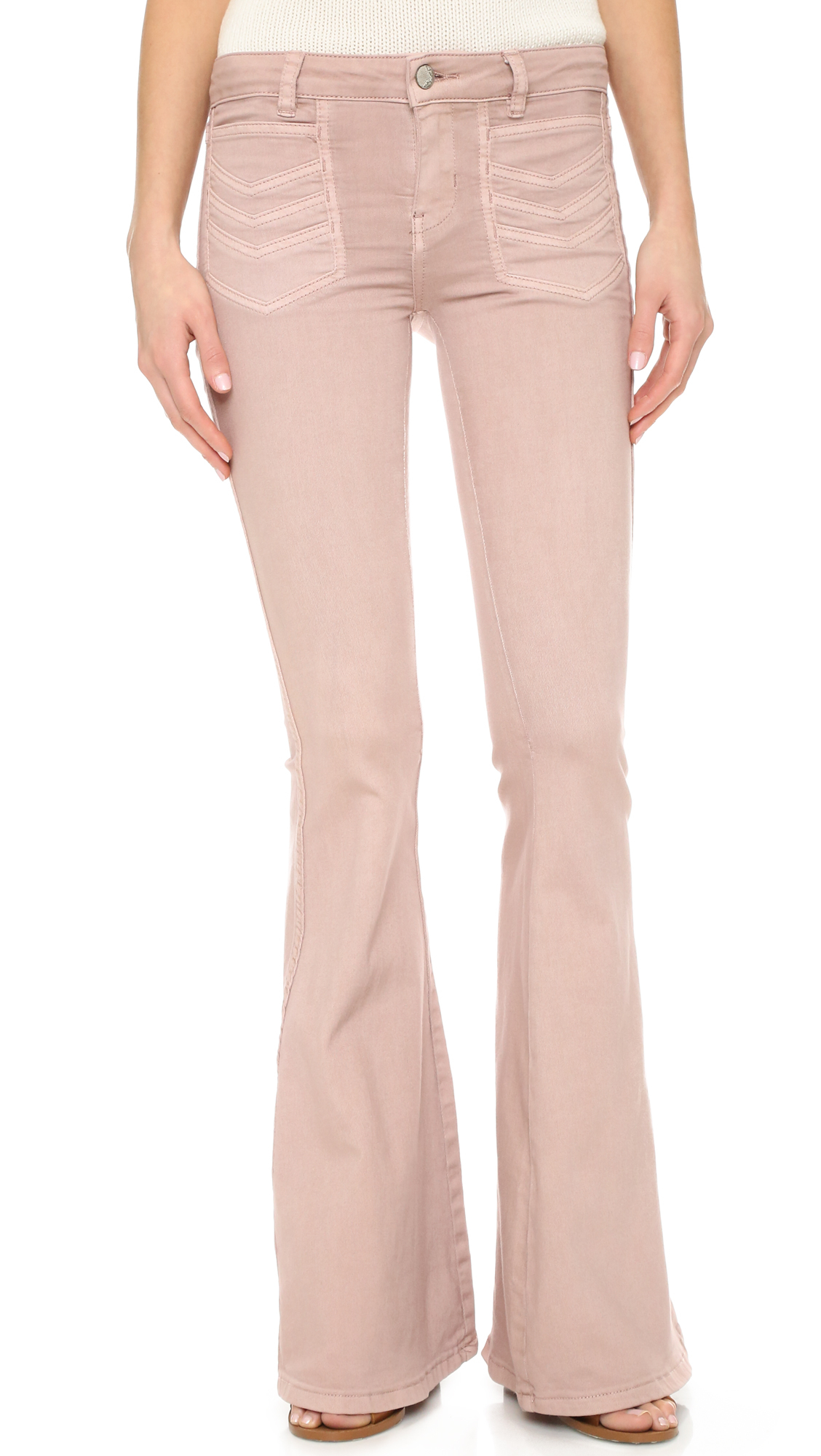 Free people Stella High Rise Flare Jeans in Pink   Lyst